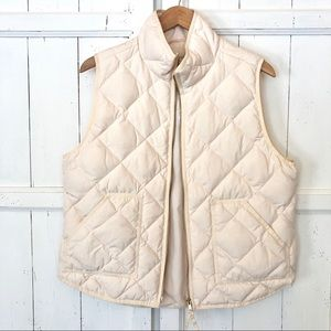 J. Crew Winter white quilted puffer vest size XL